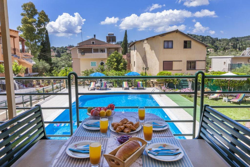 pool view apartments in corfu - family pool apartments - ionian summer